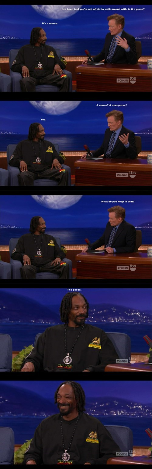 marijuana,purses,snoop dogg,conan o' brien