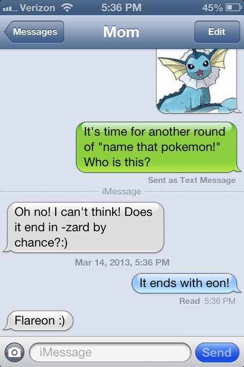 vaporeon name that pokemon texting
