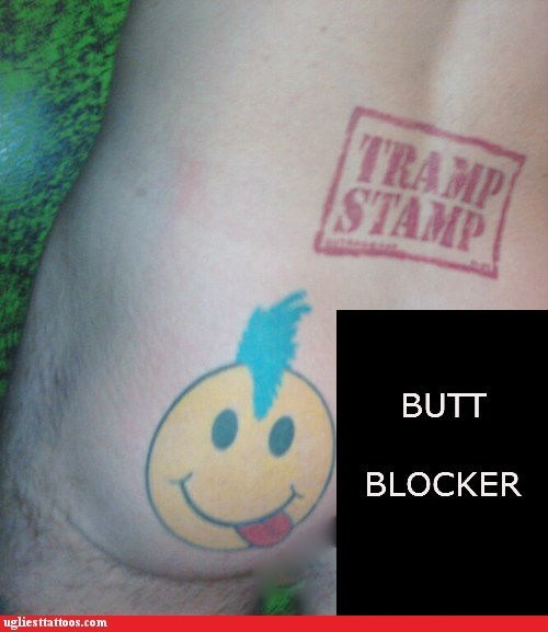 smiley faces butt tattoos tramp stamps - 7140714240