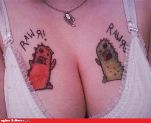 cleavage chest tattoos dinosaurs - 7140716544