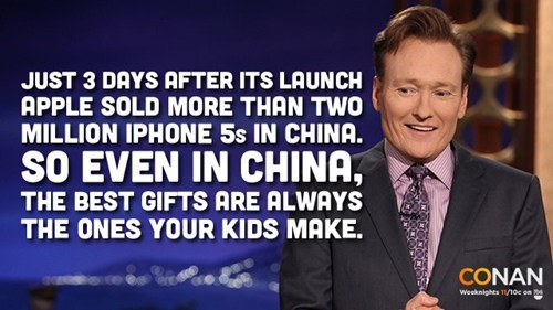 gifts,iPhones,China,apple,conan o' brien
