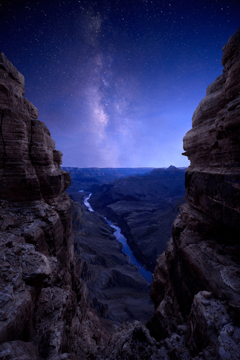 canyon landscape stars night