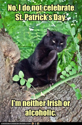 No, I do not celebrate St. Patrick's Day. I'm neither Irish or alcoholic.