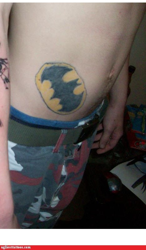 belly tattoos,bat symbol,batman