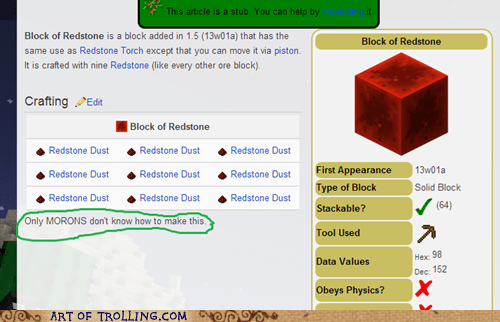 redstone morons minecraft crafting