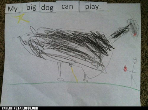 drawing,big dog,peeing,kids art