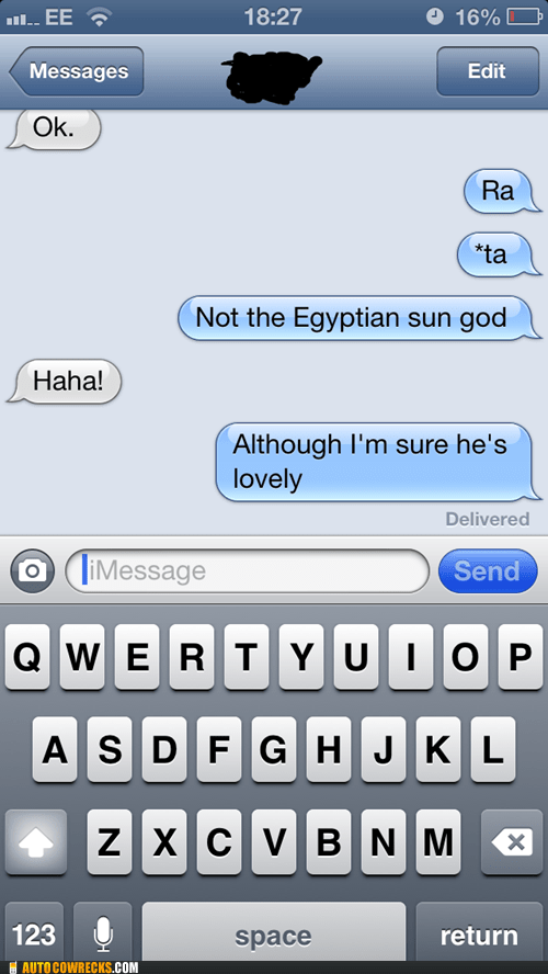 autocorrected iPhones egyptians ra