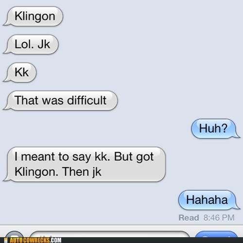 autocorrected iPhones difficult klingon - 7146324224