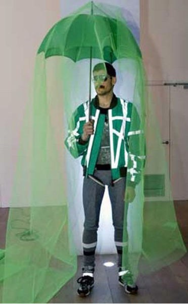 green,runway fashion,umbrellas