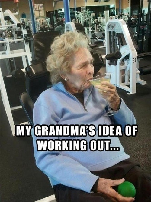 alcohol grandma old people working out - 7148250624