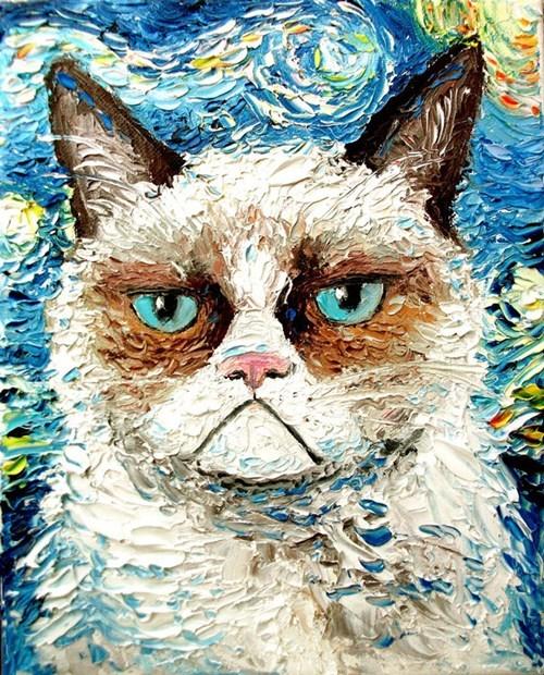 Grumpy Cat,tardar sauce,art,Van Gogh