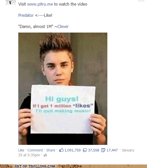 facebook likes,justin bieber