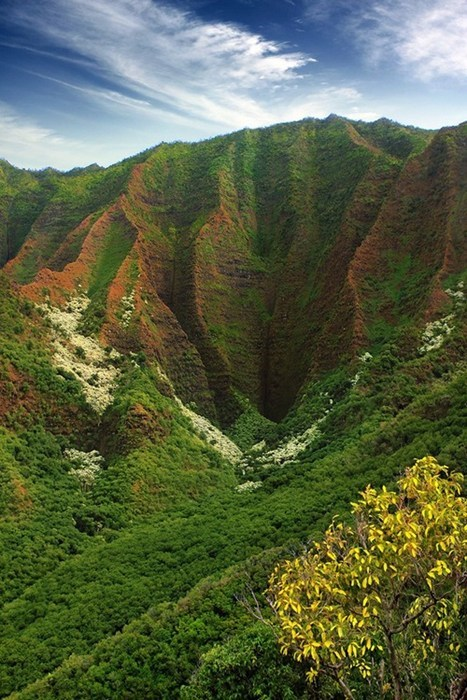 hills,Hawaii,landscape,cliffs