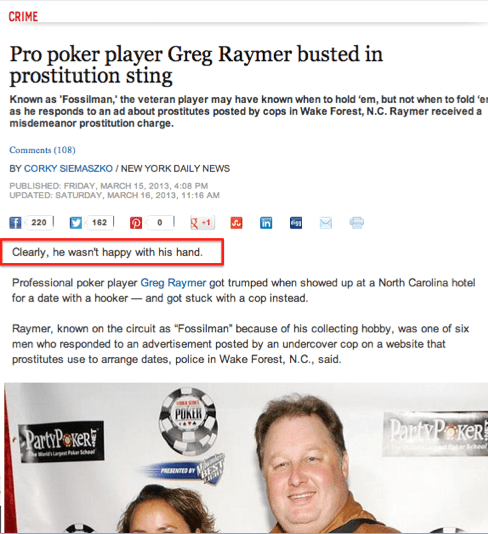 news headline poker