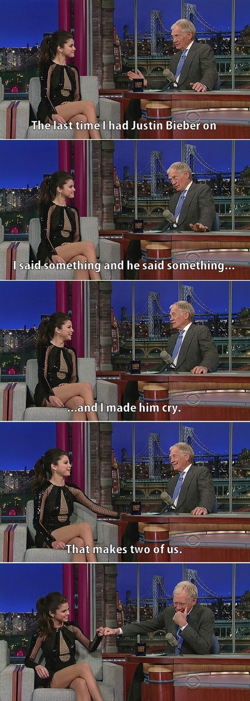 Selena Gomez crying David Letterman justin bieber dating fails g rated - 7150179328