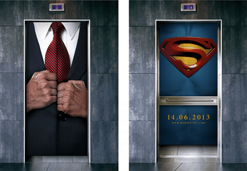 advertising elevators superman monday thru friday g rated - 7150379776