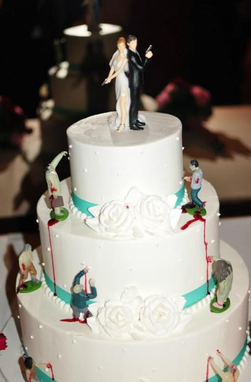 guns wedding cakes zombie