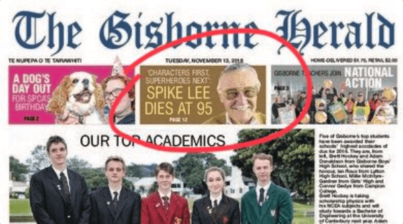 error new zealand obituary stan lee newspaper - 7151109