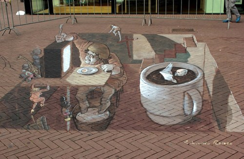 Street Art hacked irl illusion