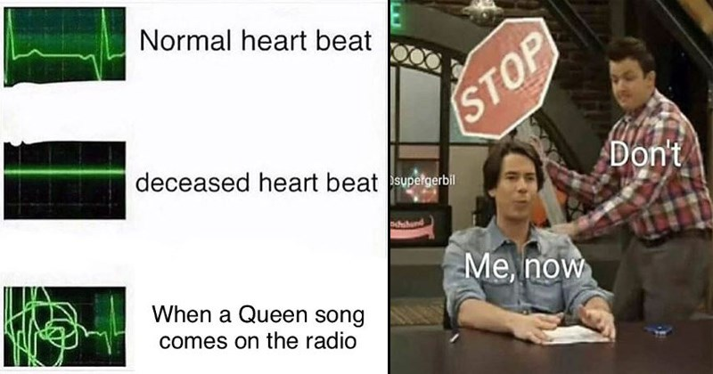 cover image about a persons heartbeat changing when they hear queen