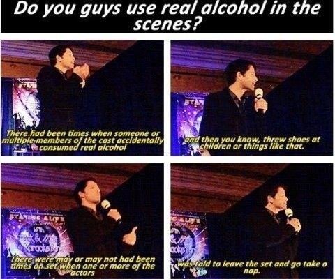 alcohol,Supernatural,castiel,on set
