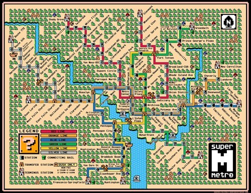 Washington DC's Metro Line Makes a Great Super Mario World Map