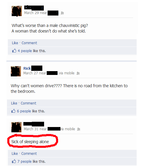 sexism bros douchebag Misogyny misogynist sexist failbook - 7153344000