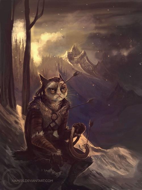 Grumpy Cat,khajiit,art,Skyrim