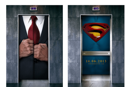 advertising elevator man of steel superman - 7153857280