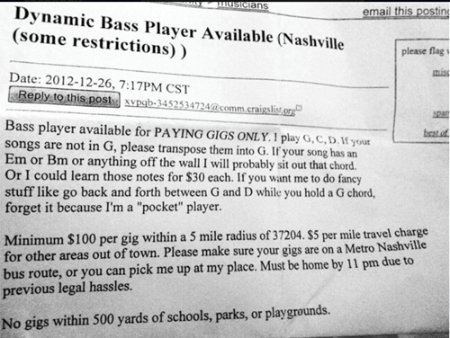 gigs craigslist bass players Music FAILS
