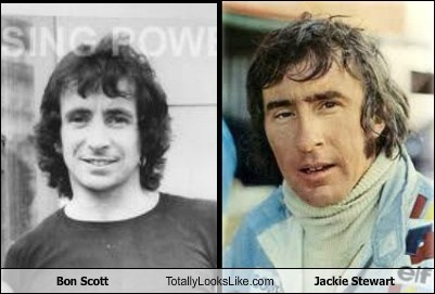 Jackie Stewart Bon Scott totally looks like