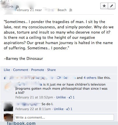 barney the dinosaur philosophy existentialism - 7154785024