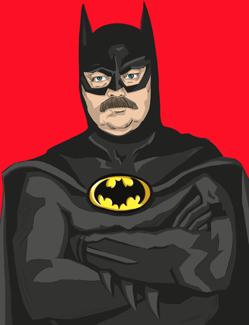 ron swanson art awesome batman funny - 7155581952