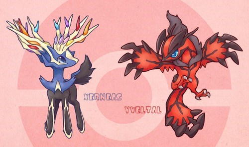 art,legendaries,yveltal,cute,xerneas