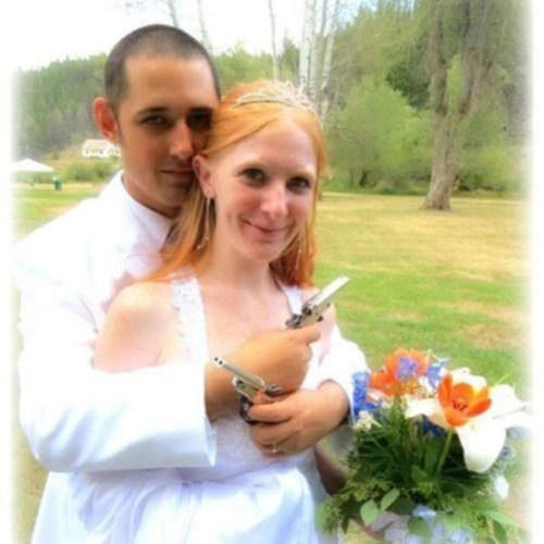 grooms guns brides wedding photos - 7155954944