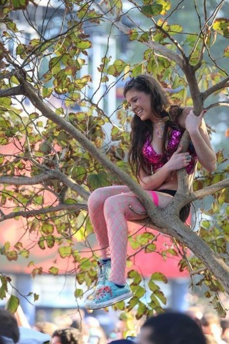 ravers Sequins tree climbing