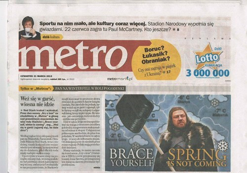 Winter Is Coming Game of Thrones newspaper g rated win