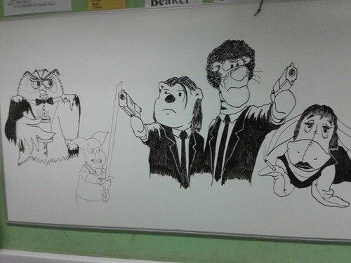 disney,doodle,pulp fiction,white board,winnie the pooh