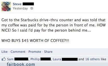 Starbucks good karma good deeds karma failbook g rated - 7156906496