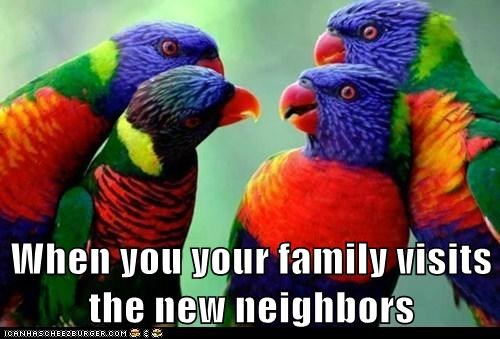 When you your family visits the new neighbors