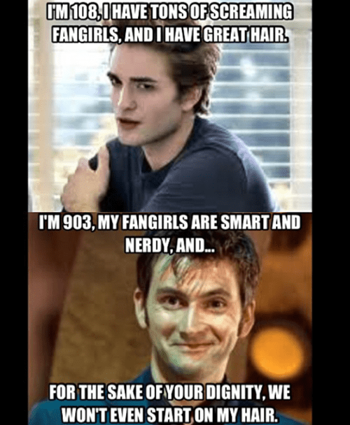 edward cullen,doctor who,twilight,fangirls,dating fails,g rated