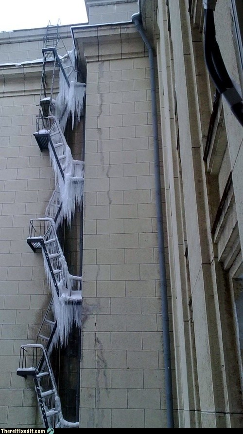 emergency exits stairs ice