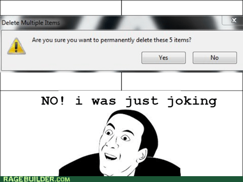deleting items you dont say recycle bin - 7160730112