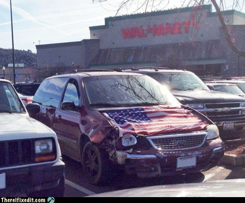 murica,car repair,flags,Walmart,hoods,g rated,there I fixed it
