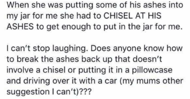 dads ashes make dad joke for the ages