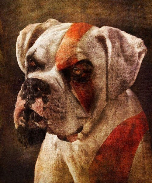 dogs,god of war,art