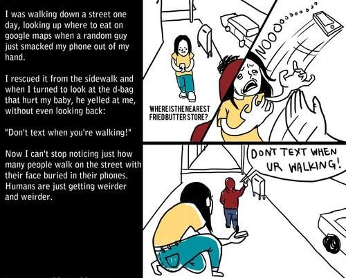 distracted society walking and texting