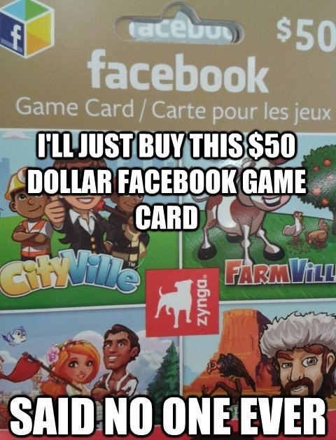 zynga facebook game card