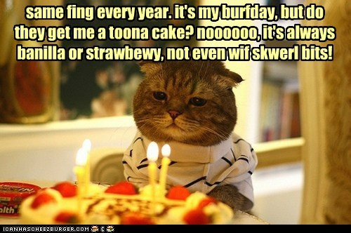 same fing every year. it's my burfday, but do they get me a toona cake? noooooo, it's always banilla or strawbewy, not even wif skwerl bits!