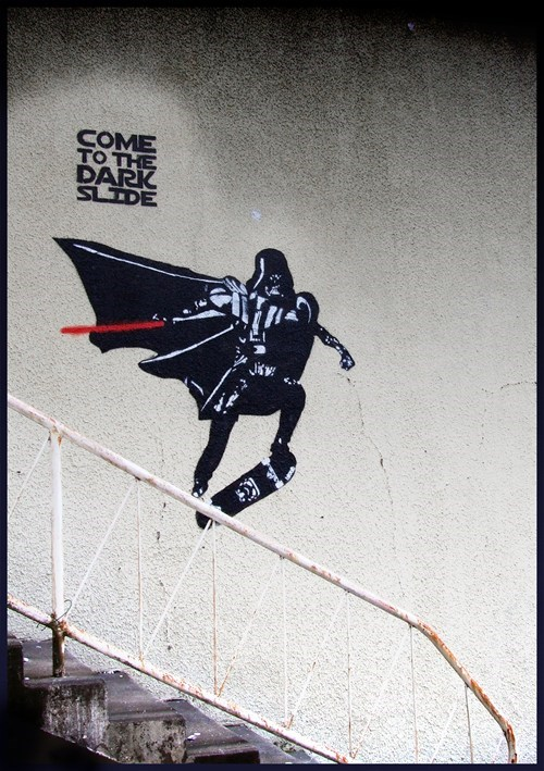Street Art star wars nerdgasm hacked irl darth vader